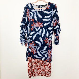 ELOQUII Floral Ruched Sleeve Belted Dress #4428